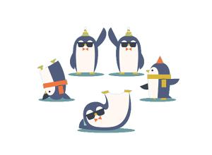 扁平化搞笑的企鹅