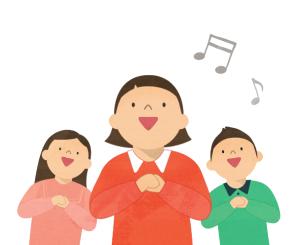 扁平化唱歌的儿童