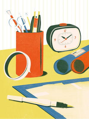 彩色手绘办公桌