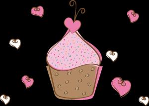 矢量爱心杯子蛋糕