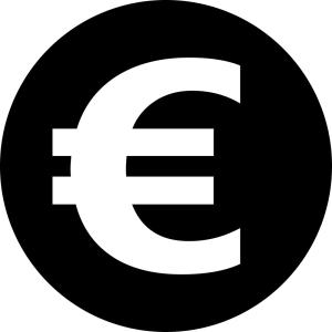 黑色圆圈里的白色钱币符号图片
