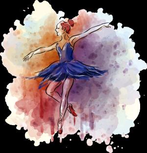 矢量墨迹与芭蕾女孩