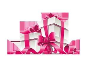 粉色丝带系好的礼物盒