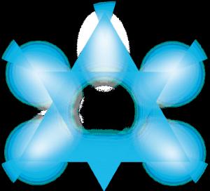 蓝色半透明五角星科技素材