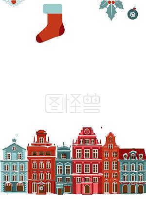 圣诞节城市背景矢量图