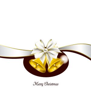 白色丝带圣诞铃铛矢量素材