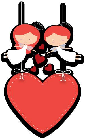 一对天使爱心卡片矢量图