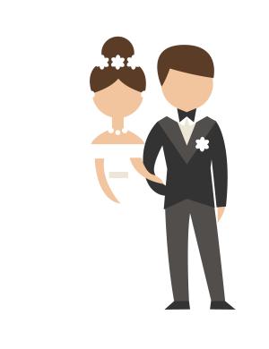 矢量黑白色一对新人婚礼