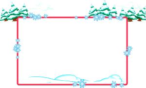 矢量手绘雪花边框