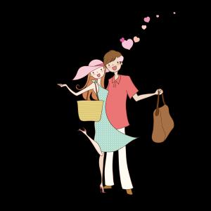 拿着包包拥抱的爱人