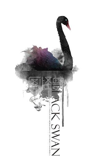 水彩黑天鹅文案