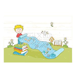 手绘读书的小男孩