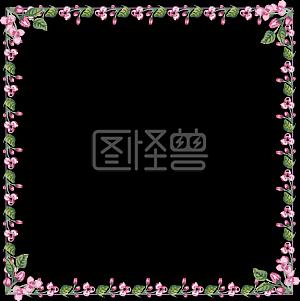 方形粉色小花边框