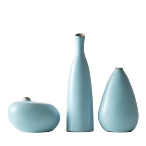 蓝色花瓶摆件三件套