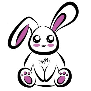 卡通小兔子白色粉白色
