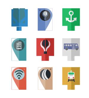 APP地图UI扁平图标icon
