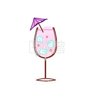手绘风紫色气泡鸡尾酒