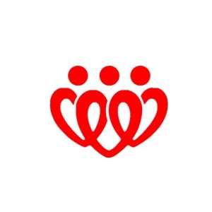 三人爱心传递象征标志