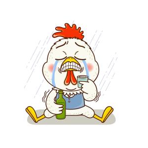 悲伤的小鸡喝酒