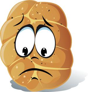 手绘面包悲伤表情