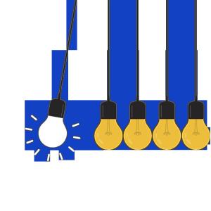 黄色立体电器灯泡卡通手绘