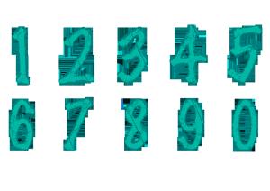 斑驳体手绘数字