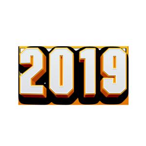 2019橙色3D立体矢量图