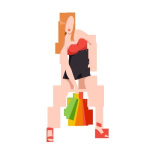 卡通扁平化时尚购物美女霸气叉腰模特