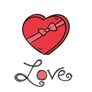 情人节爱心礼盒矢量图案