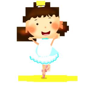 卡通跳芭蕾的可爱女孩