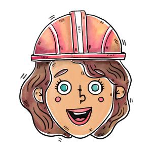 卡通戴安全帽的女人矢量素材