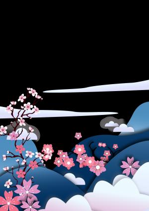樱花节矢量背景图案