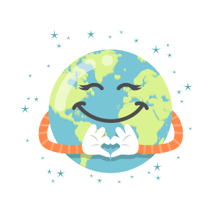 卡通爱心世界地球日矢量图片