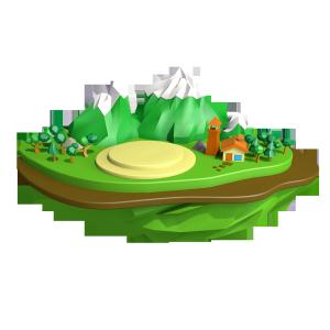 天蓝绿色悬空岛上小圆饼