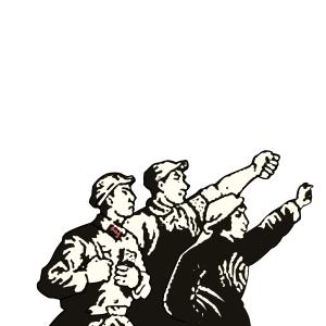 五四青年节风华正茂革命知青黑白版画免抠图