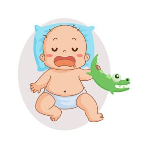 抱恐龙玩具睡觉的宝贝矢量素材