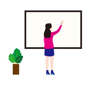 在黑板上板书的老师矢量图片