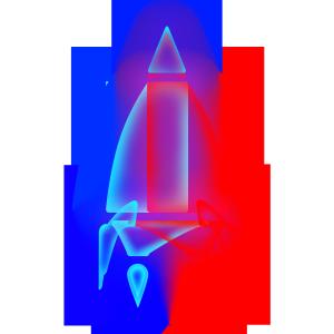 半透明透气渐变叠加火箭