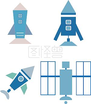 火箭飞机卫星矢量图