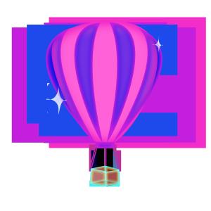 热气球半透明渐变透气叠加风格矢量免扣