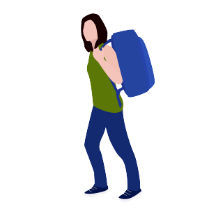背着背包去旅行的女人矢量素材
