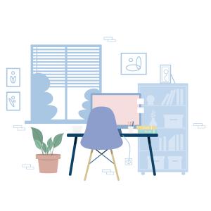 卡通蓝色的办公桌矢量素材