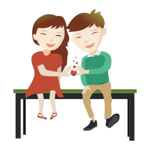 坐在板凳上手比爱心的情侣