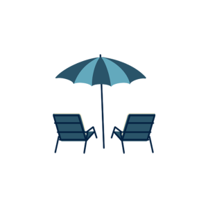 海边沙滩椅晒太阳