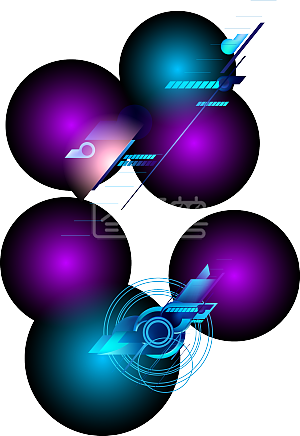 购物节蓝紫色科技风边框背景线条圈圈电商