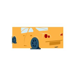 透视效果卡通小汽车