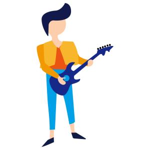 卡通矢量简约正在弹吉他的人