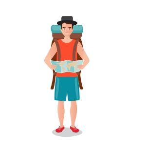 卡通背包旅行的男人矢量素材