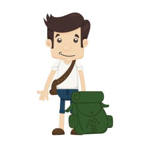 背包旅行的青年矢量素材