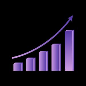矢量蓝紫色渐变科技风报表曲线柱形图